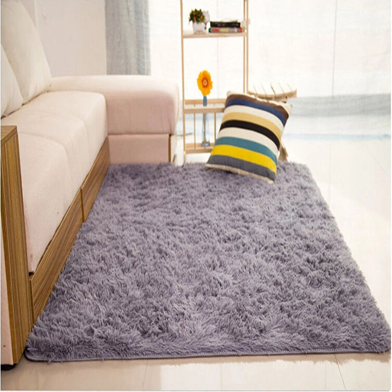 Solid Fluffy Rugs Anti-Skid Shaggy Area Rug Dining Room Living Room Carpet Floor