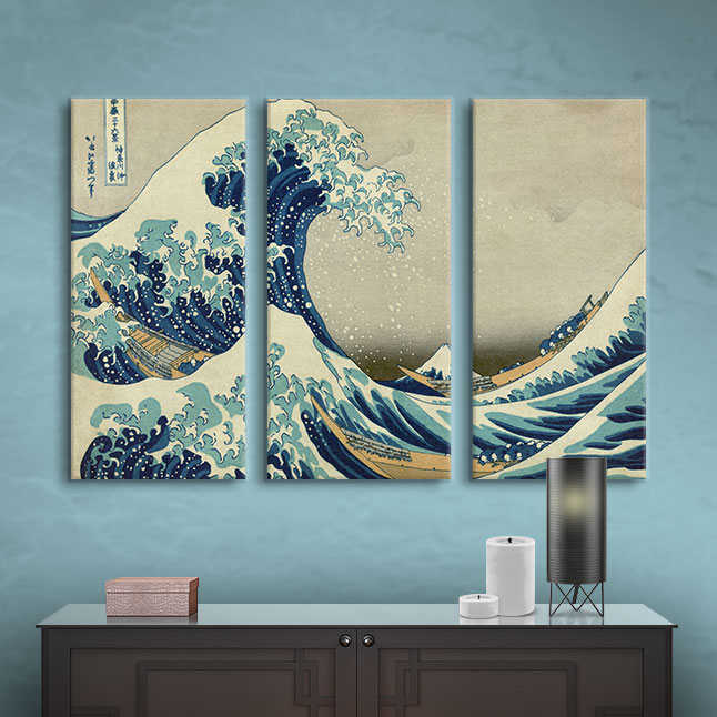 ArtWall  The Great Wave off Kanagawa  3 Piece Gallery Wrapped Canvas Set