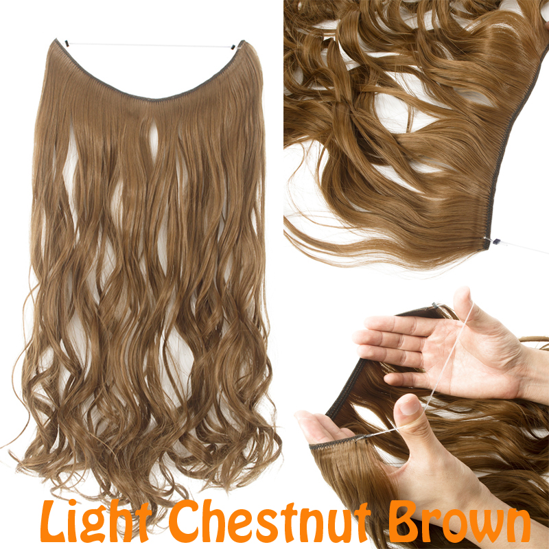 Long Curly No Clips In Secret Fish Line Hair Extension Invisible