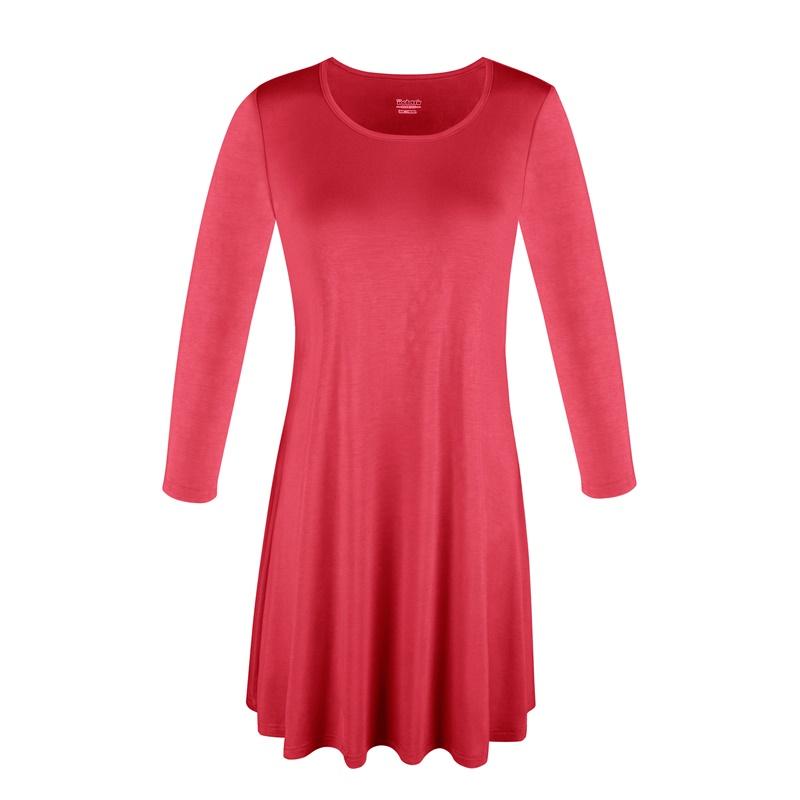 1X-2X-3X-Women-Plus-Round-Neck-Tunic-Stretch-Top-Trapeze-3-4-Sleeve-A-Line-Dress thumbnail 10