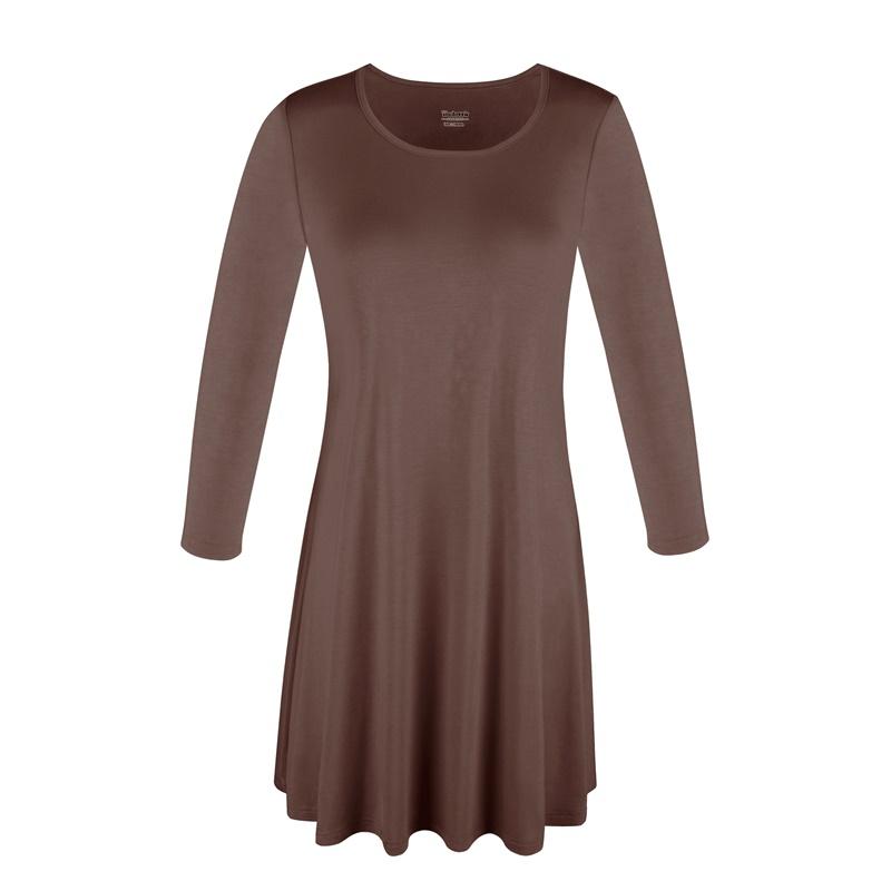 1X-2X-3X-Women-Plus-Round-Neck-Tunic-Stretch-Top-Trapeze-3-4-Sleeve-A-Line-Dress thumbnail 19