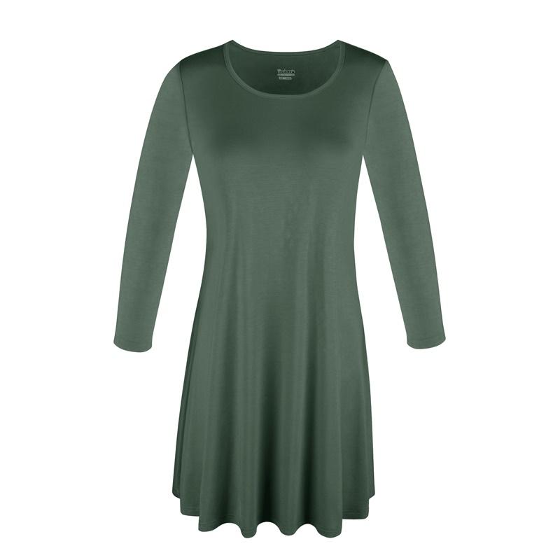 1X-2X-3X-Women-Plus-Round-Neck-Tunic-Stretch-Top-Trapeze-3-4-Sleeve-A-Line-Dress thumbnail 6
