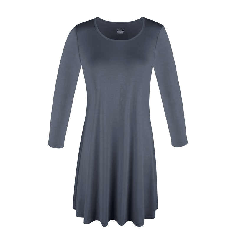 1X-2X-3X-Women-Plus-Round-Neck-Tunic-Stretch-Top-Trapeze-3-4-Sleeve-A-Line-Dress thumbnail 27