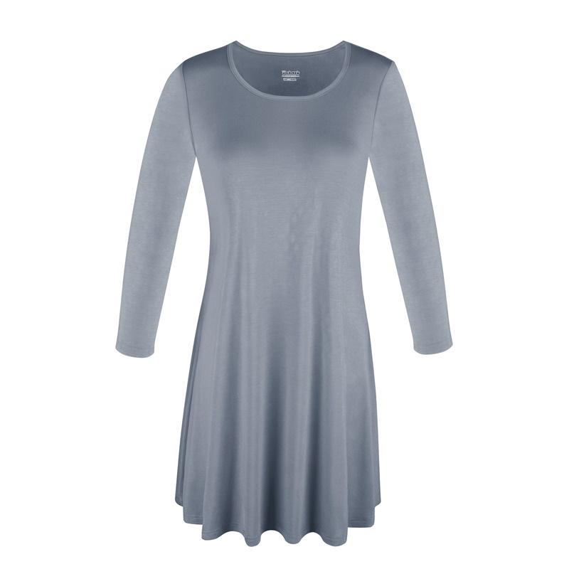 1X-2X-3X-Women-Plus-Round-Neck-Tunic-Stretch-Top-Trapeze-3-4-Sleeve-A-Line-Dress thumbnail 35