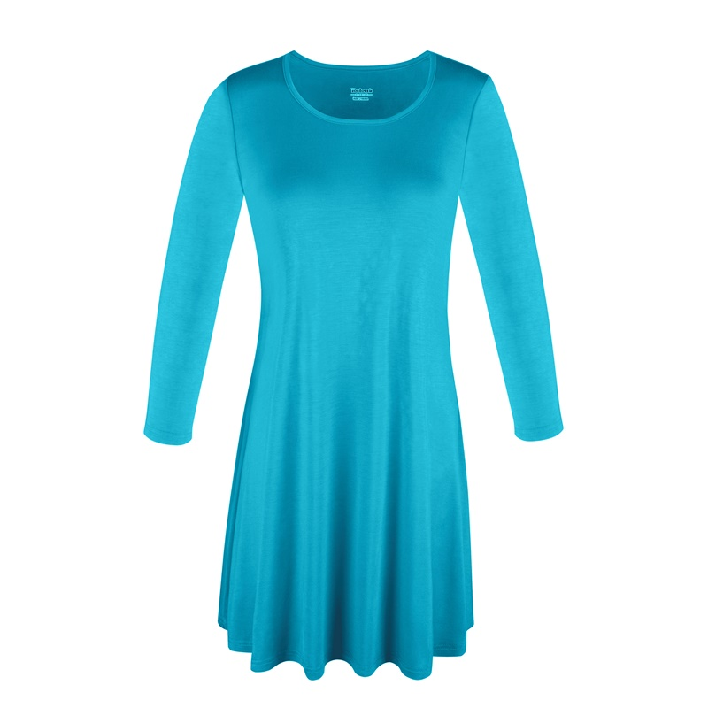 1X-2X-3X-Women-Plus-Round-Neck-Tunic-Stretch-Top-Trapeze-3-4-Sleeve-A-Line-Dress thumbnail 31