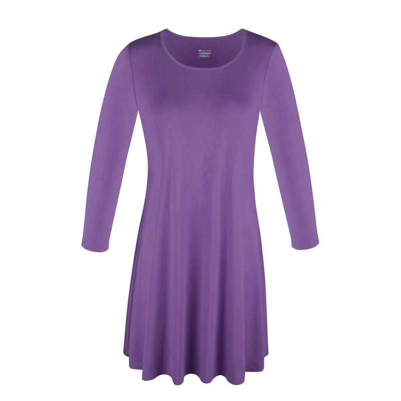 1X-2X-3X-Women-Plus-Round-Neck-Tunic-Stretch-Top-Trapeze-3-4-Sleeve-A-Line-Dress thumbnail 43