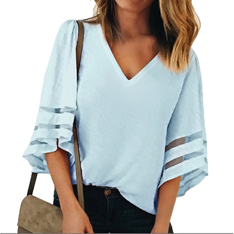 Women-Summer-Blouse-Top-Short-Sleeve-Ladies-Casual-Striped-Cold-Shoulder-T-Shirt thumbnail 10