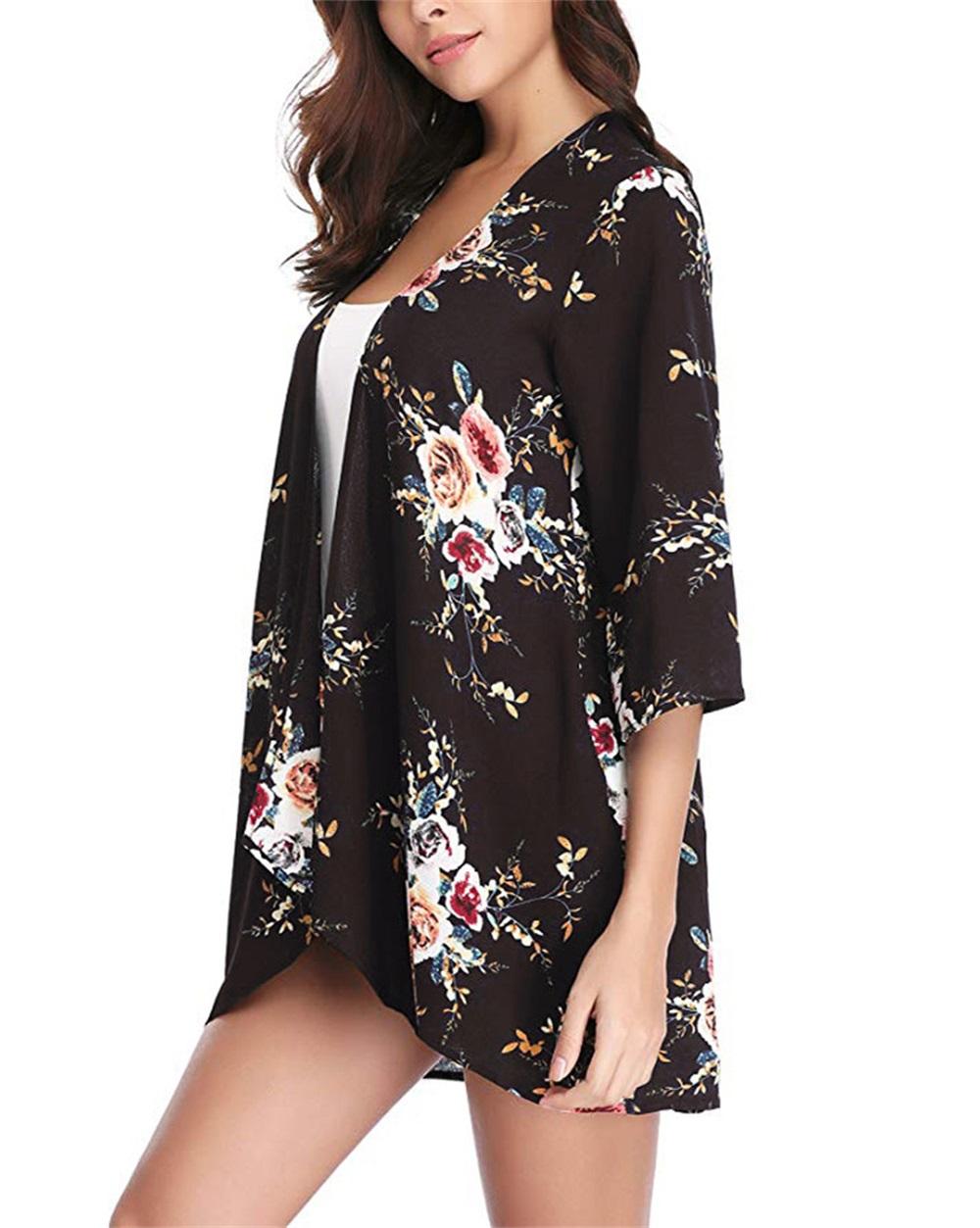 Fashion-Women-Loose-Blouse-Kimono-Cardigan-Tops-Summer-Bikini-Cover-Up-Wrap-Coat thumbnail 14