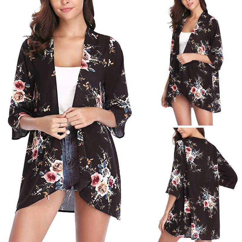 Fashion-Women-Loose-Blouse-Kimono-Cardigan-Tops-Summer-Bikini-Cover-Up-Wrap-Coat thumbnail 13