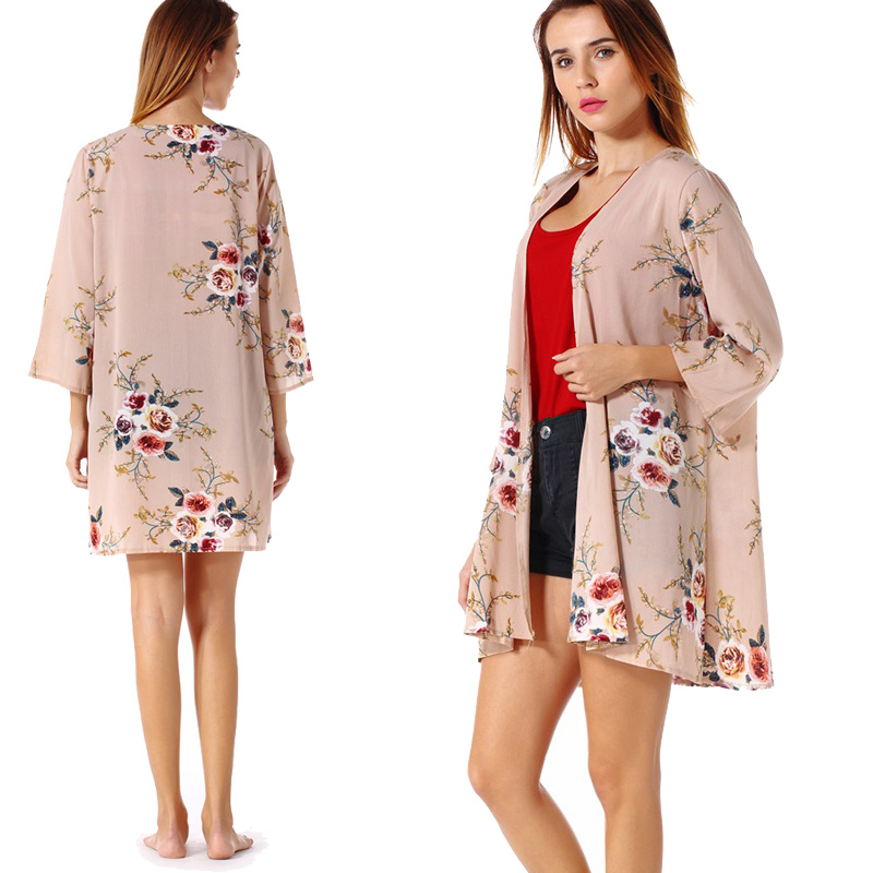 Fashion-Women-Loose-Blouse-Kimono-Cardigan-Tops-Summer-Bikini-Cover-Up-Wrap-Coat thumbnail 25