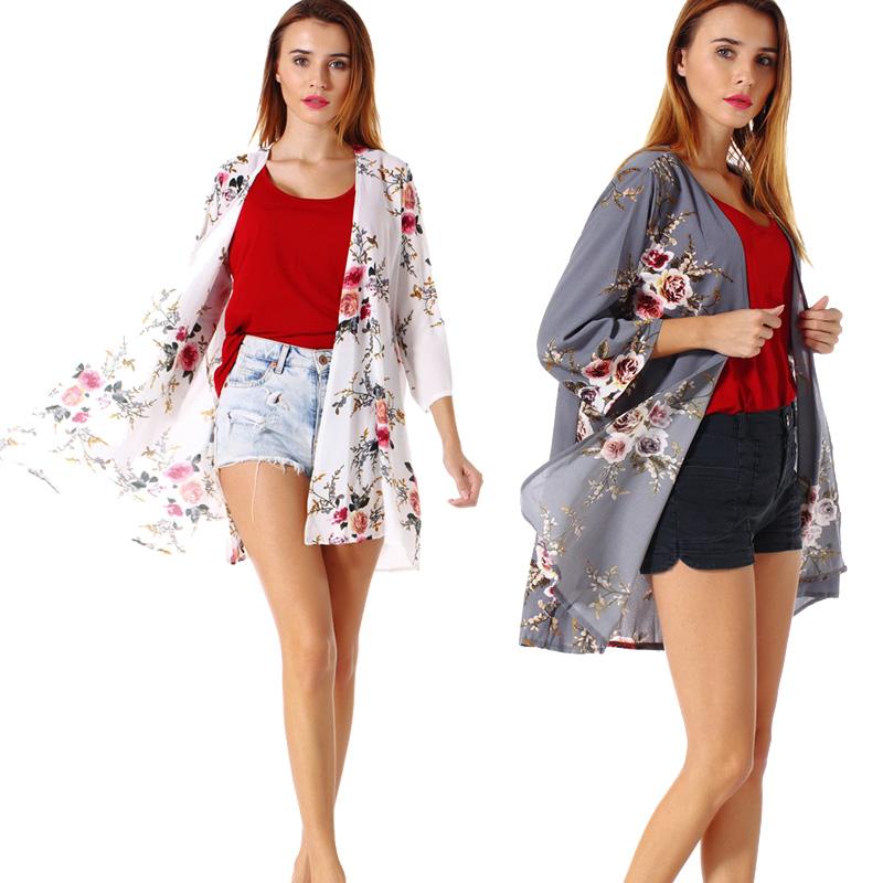 Fashion-Women-Loose-Blouse-Kimono-Cardigan-Tops-Summer-Bikini-Cover-Up-Wrap-Coat thumbnail 21