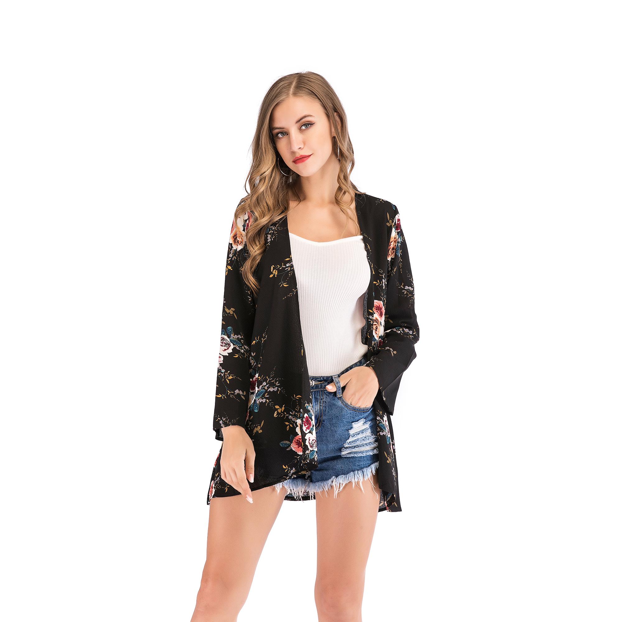 Fashion-Women-Loose-Blouse-Kimono-Cardigan-Tops-Summer-Bikini-Cover-Up-Wrap-Coat thumbnail 16