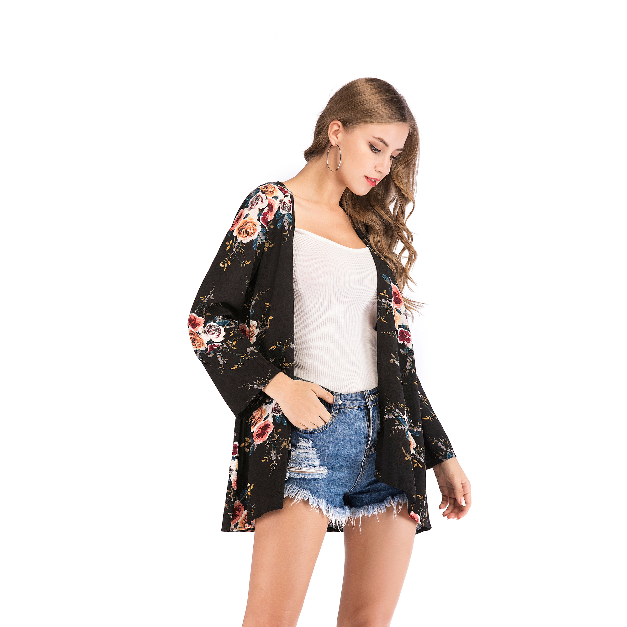 Fashion-Women-Loose-Blouse-Kimono-Cardigan-Tops-Summer-Bikini-Cover-Up-Wrap-Coat thumbnail 17