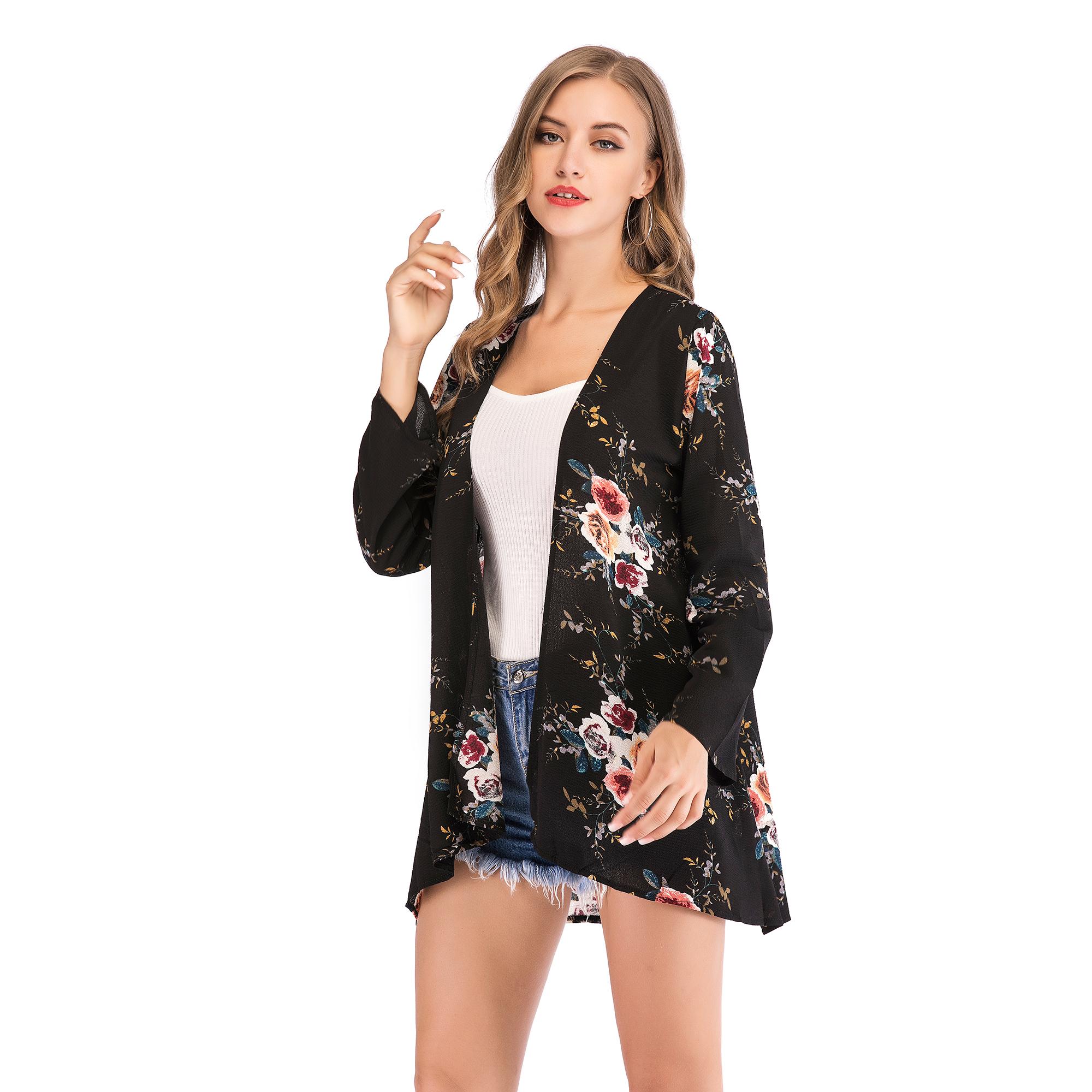 Fashion-Women-Loose-Blouse-Kimono-Cardigan-Tops-Summer-Bikini-Cover-Up-Wrap-Coat thumbnail 18