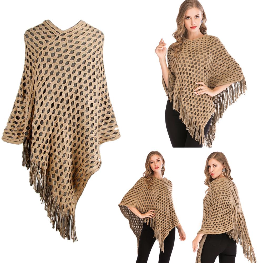 Womens-Top-Tassel-Poncho-Cape-Shawls-Batwing-Knit-Sweater-Cloak-Batwing-Outwear thumbnail 14