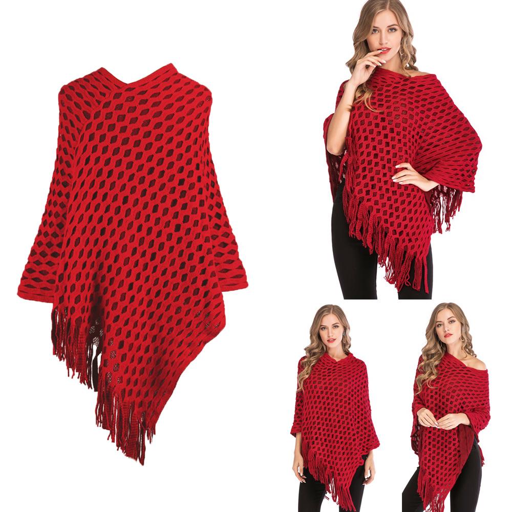 Womens-Top-Tassel-Poncho-Cape-Shawls-Batwing-Knit-Sweater-Cloak-Batwing-Outwear thumbnail 20