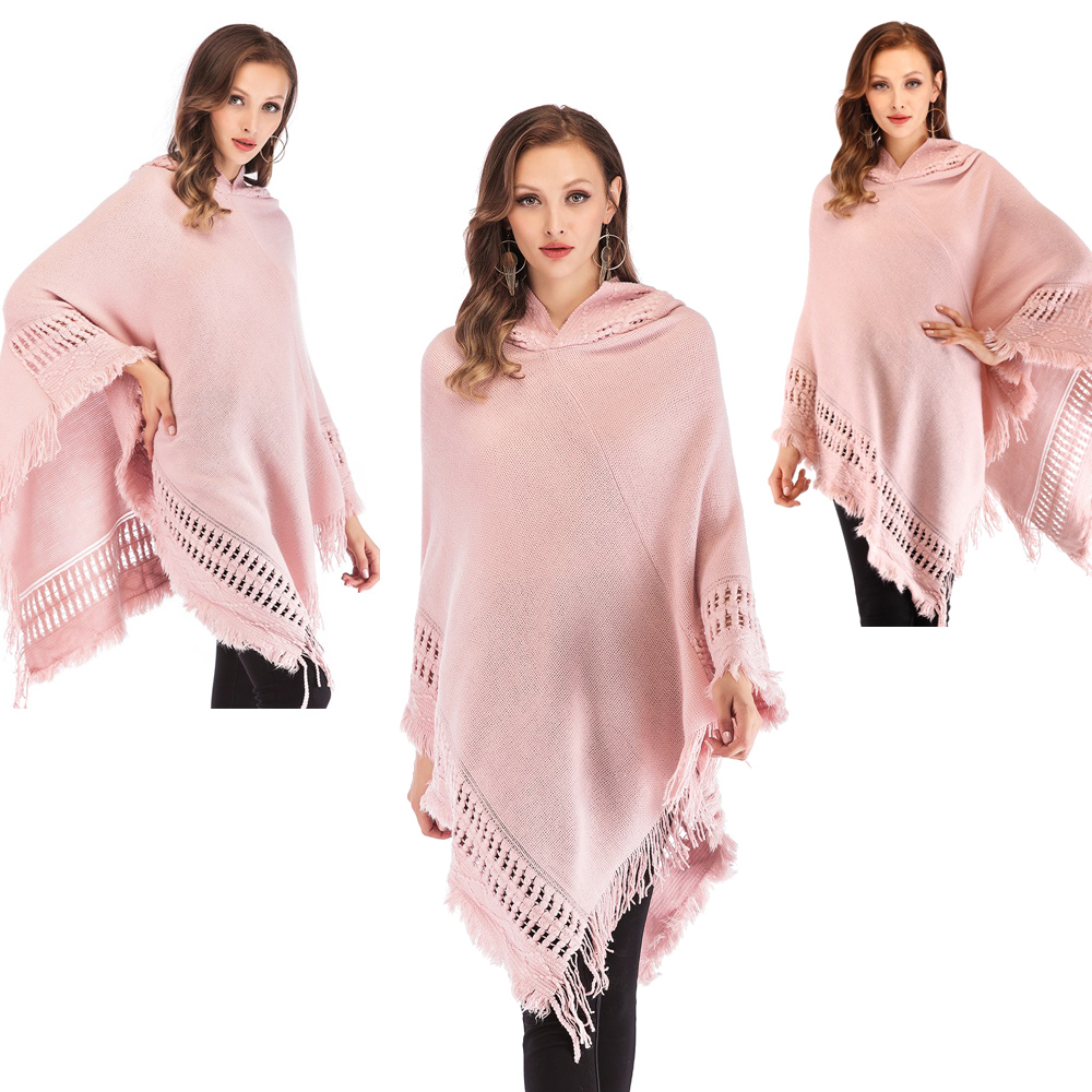 Womens-Top-Tassel-Poncho-Cape-Shawls-Batwing-Knit-Sweater-Cloak-Batwing-Outwear thumbnail 18
