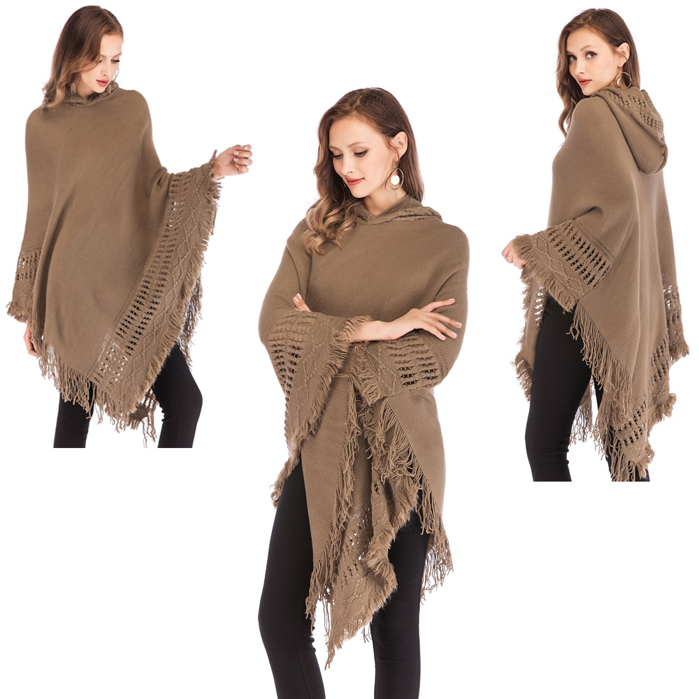Womens-Top-Tassel-Poncho-Cape-Shawls-Batwing-Knit-Sweater-Cloak-Batwing-Outwear thumbnail 16