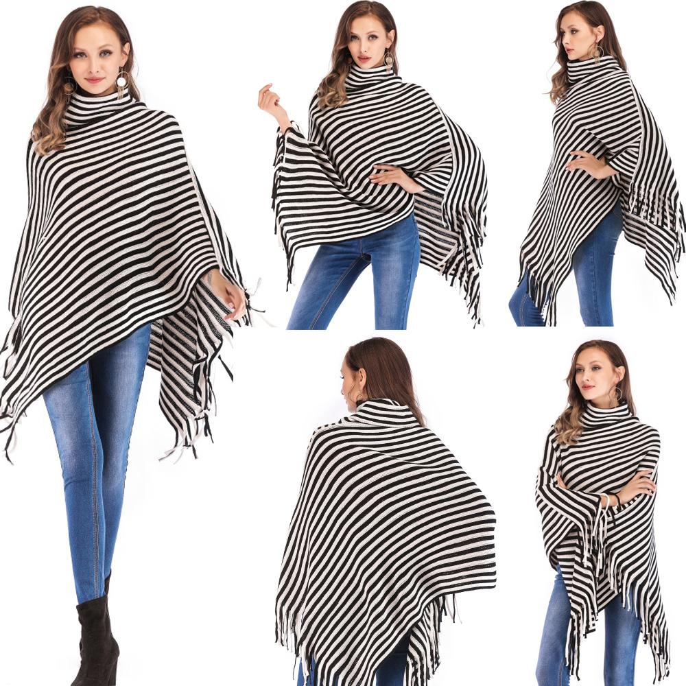 Womens-Top-Tassel-Poncho-Cape-Shawls-Batwing-Knit-Sweater-Cloak-Batwing-Outwear thumbnail 12