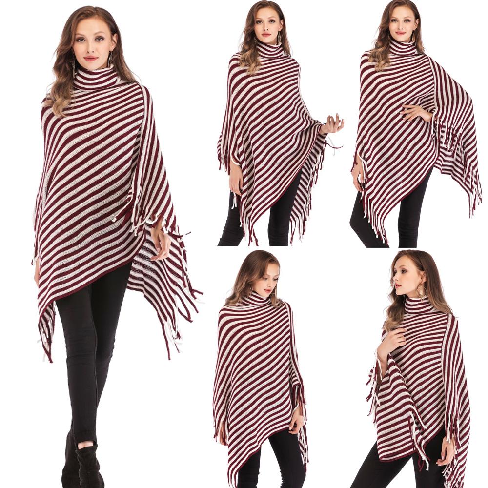 Womens-Top-Tassel-Poncho-Cape-Shawls-Batwing-Knit-Sweater-Cloak-Batwing-Outwear thumbnail 22