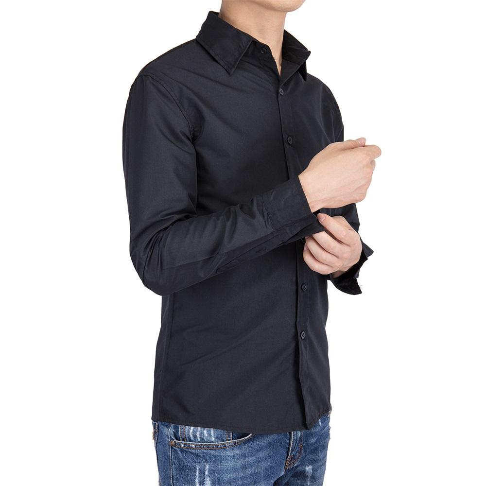 US-Mens-Casual-Shirt-Long-Sleeve-Slim-Fit-Solid-Shirts-Cotton-Dress-Shirts-Tops thumbnail 8
