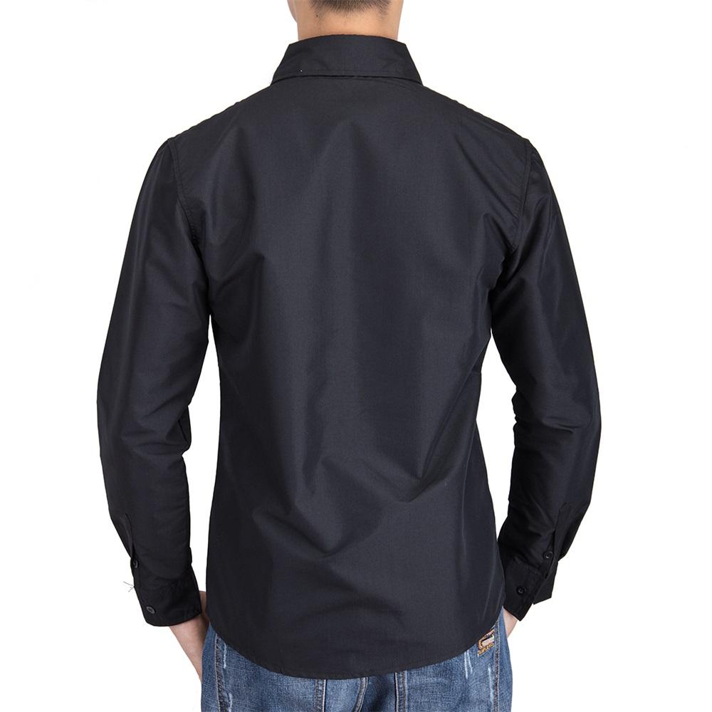 US-Mens-Casual-Shirt-Long-Sleeve-Slim-Fit-Solid-Shirts-Cotton-Dress-Shirts-Tops thumbnail 9