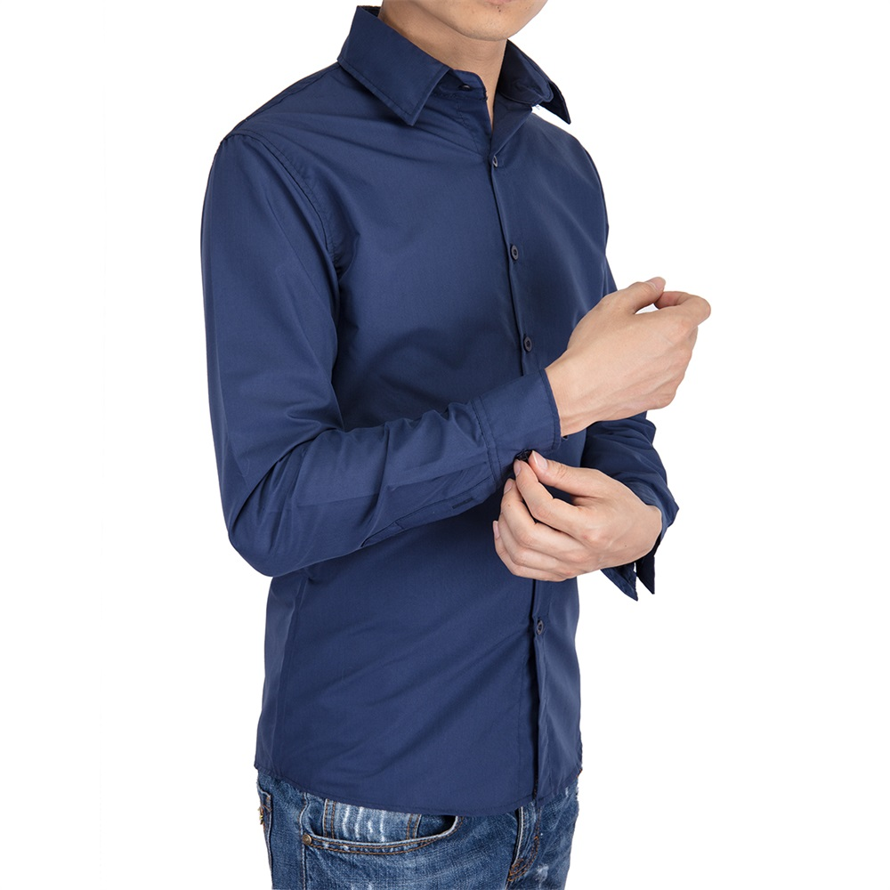 US-Mens-Casual-Shirt-Long-Sleeve-Slim-Fit-Solid-Shirts-Cotton-Dress-Shirts-Tops thumbnail 12