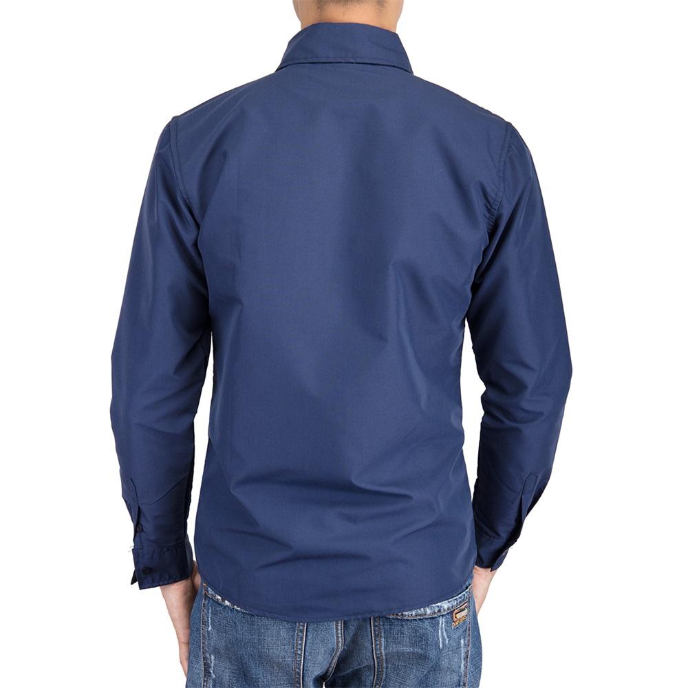US-Mens-Casual-Shirt-Long-Sleeve-Slim-Fit-Solid-Shirts-Cotton-Dress-Shirts-Tops thumbnail 13
