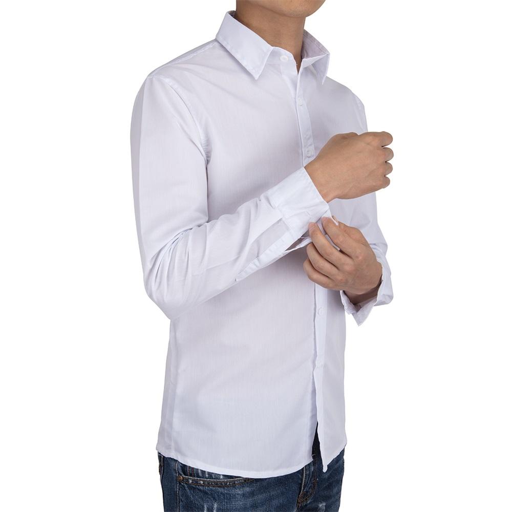 US-Mens-Casual-Shirt-Long-Sleeve-Slim-Fit-Solid-Shirts-Cotton-Dress-Shirts-Tops thumbnail 15