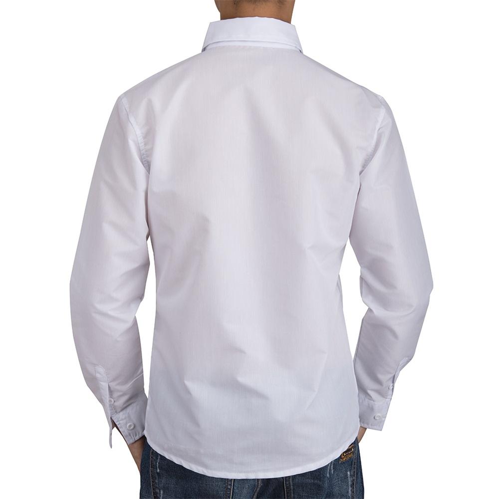 US-Mens-Casual-Shirt-Long-Sleeve-Slim-Fit-Solid-Shirts-Cotton-Dress-Shirts-Tops thumbnail 16