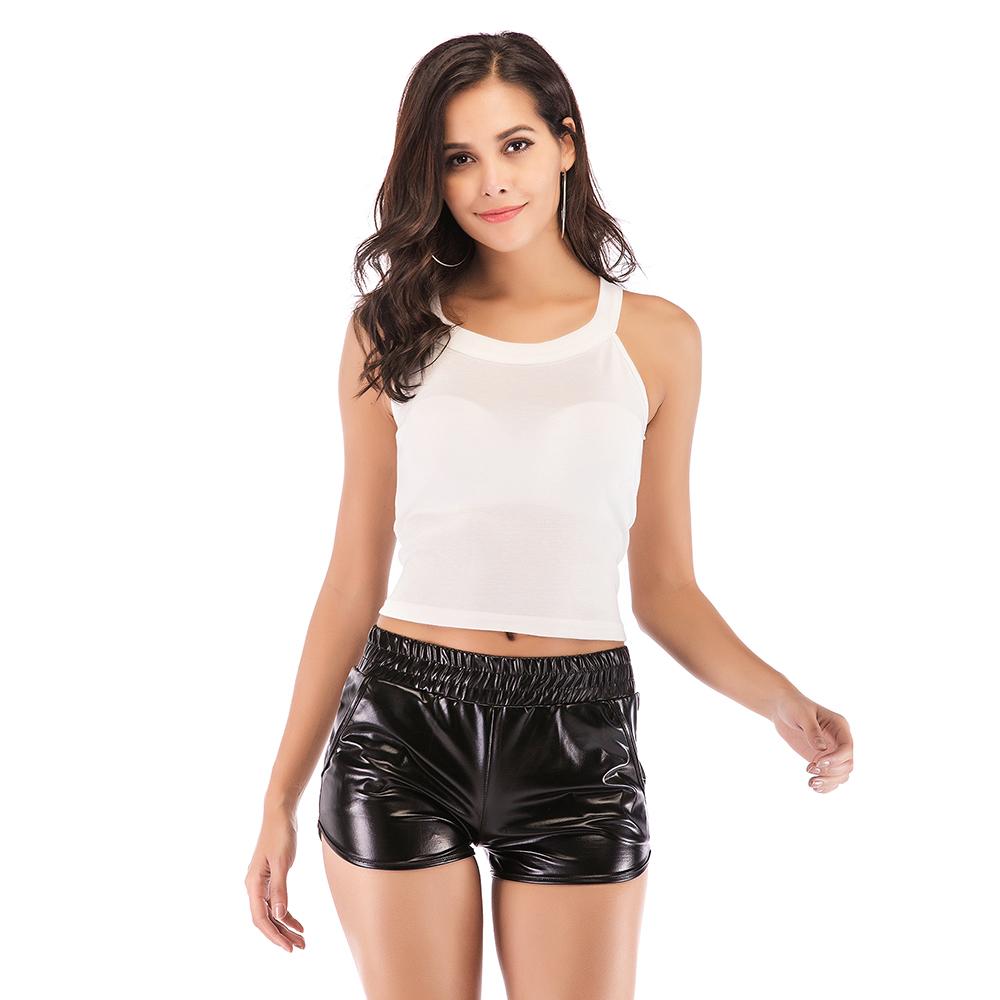 Women Shorts Shiny Leather Sports Short Workout Pants