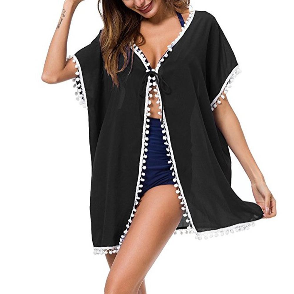 Womens-Beachwear-Cardigan-Tassel-Bikini-Cover-Up-Dress-Kaftan-Sarong-Beach-Dress thumbnail 5