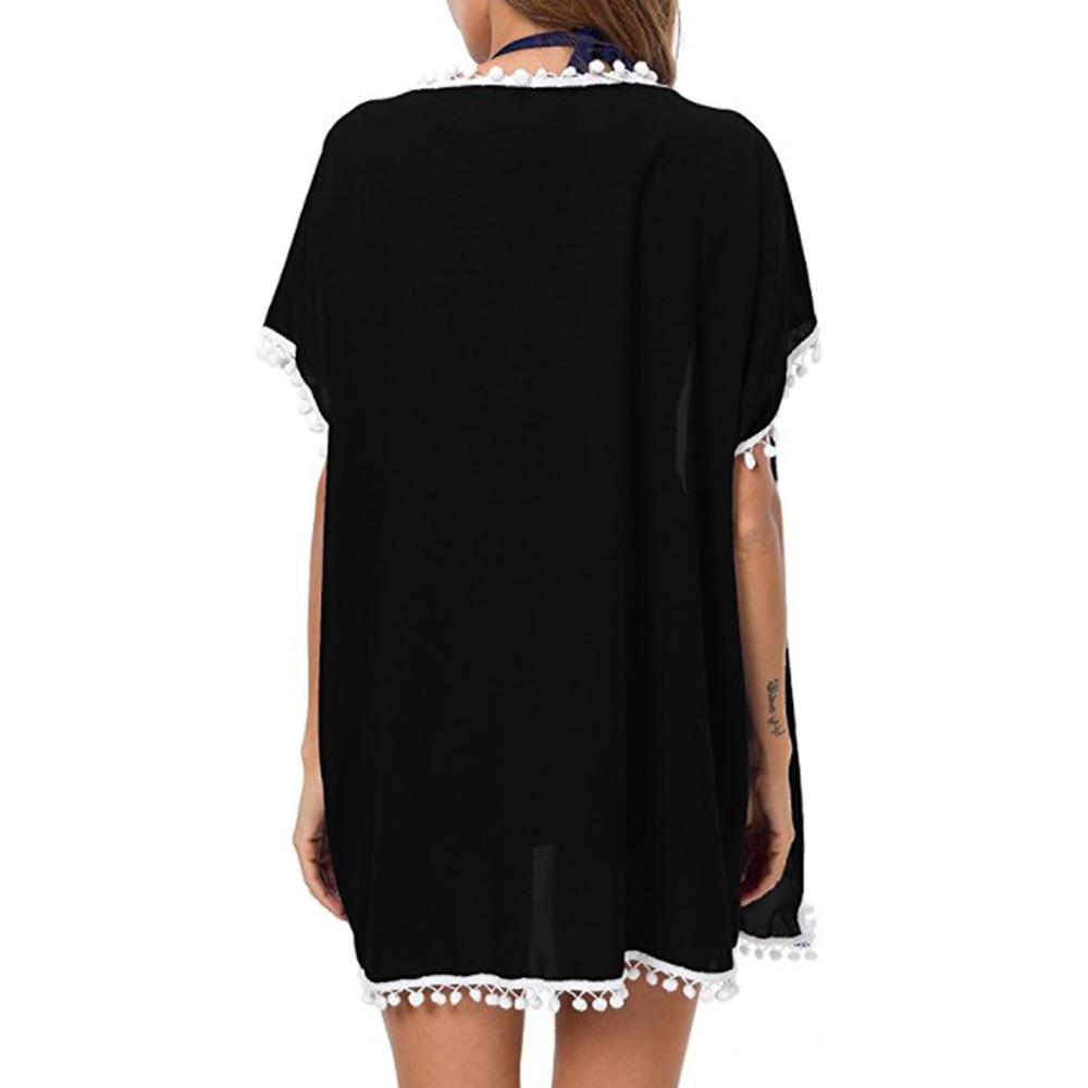 Womens-Beachwear-Cardigan-Tassel-Bikini-Cover-Up-Dress-Kaftan-Sarong-Beach-Dress thumbnail 6