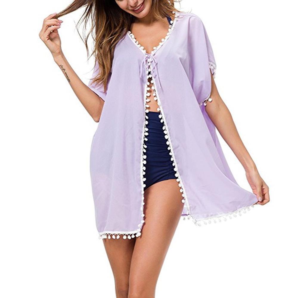Womens-Beachwear-Cardigan-Tassel-Bikini-Cover-Up-Dress-Kaftan-Sarong-Beach-Dress thumbnail 13