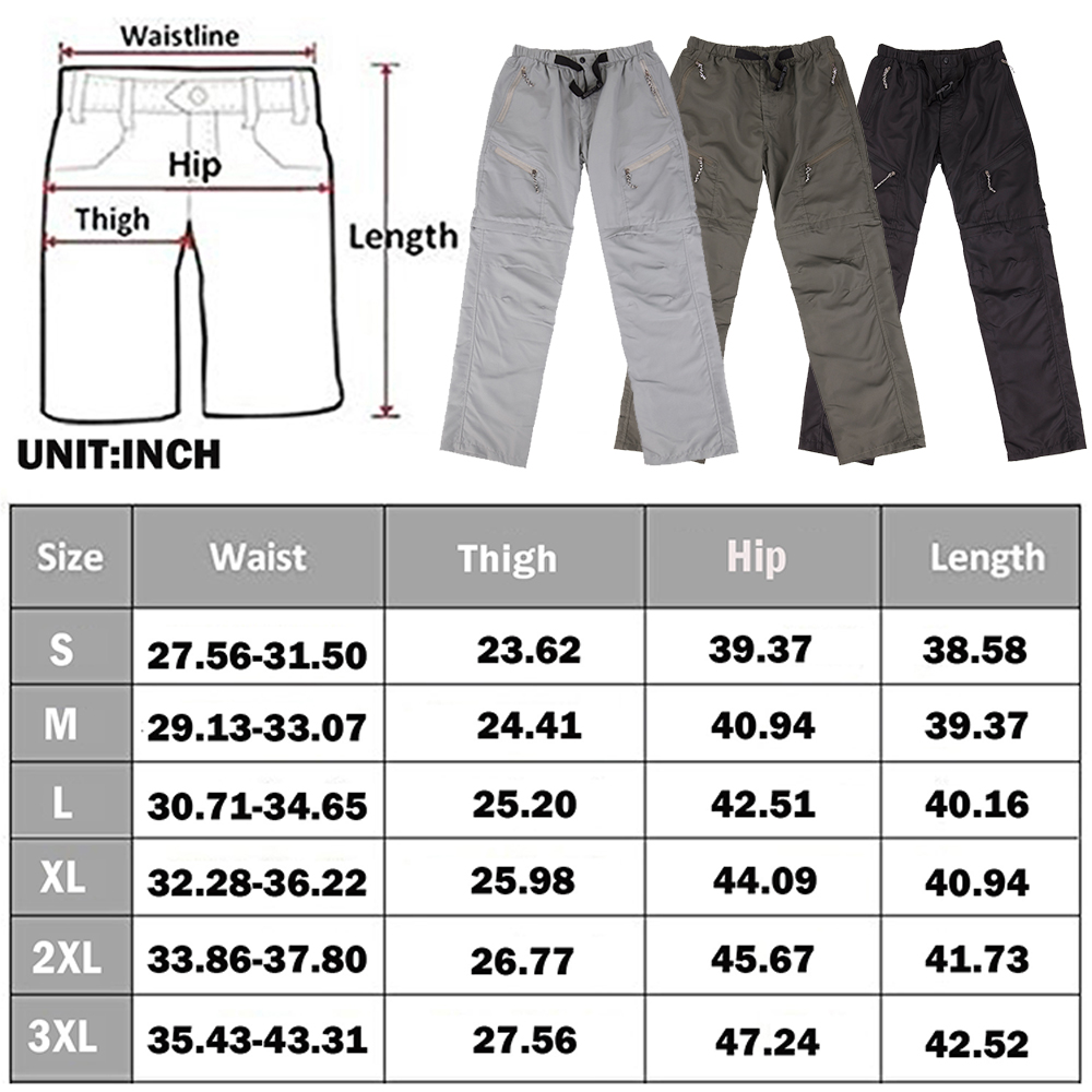 US-MENS-CONVERTIBLE-PANTS-QUICK-DRY-ZIP-OFF-SHORTS-OUTDOOR-HIKING-TROUSERS-S-3XL thumbnail 2