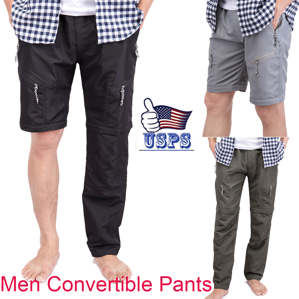 US-MENS-CONVERTIBLE-PANTS-QUICK-DRY-ZIP-OFF-SHORTS-OUTDOOR-HIKING-TROUSERS-S-3XL