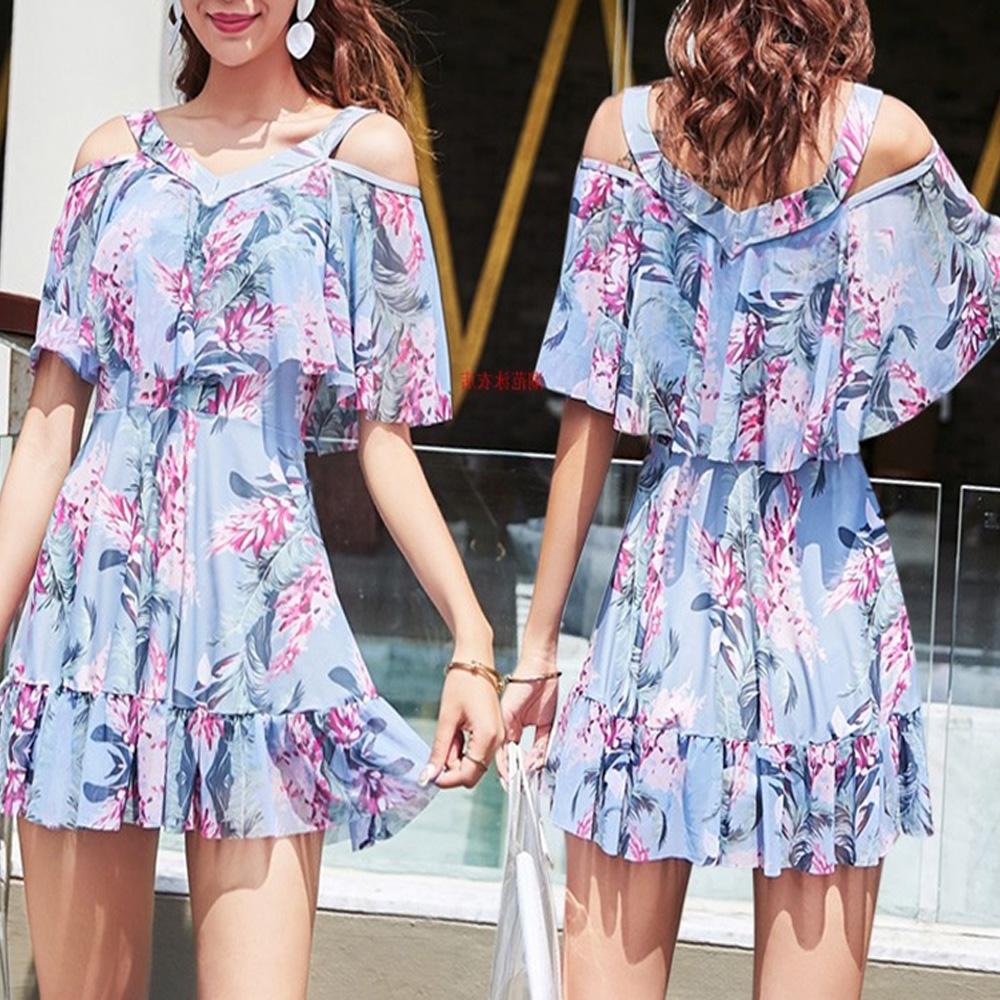 NEW-Women-Floral-Print-Sundress-One-piece-Tankini-Swim-Dress-Swimsuit-Bikini-Set thumbnail 22