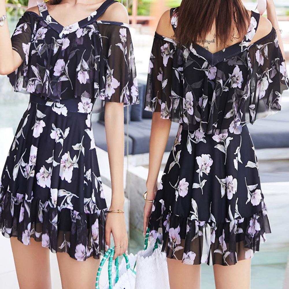 NEW-Women-Floral-Print-Sundress-One-piece-Tankini-Swim-Dress-Swimsuit-Bikini-Set thumbnail 25