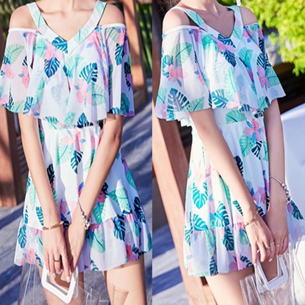 NEW-Women-Floral-Print-Sundress-One-piece-Tankini-Swim-Dress-Swimsuit-Bikini-Set thumbnail 19
