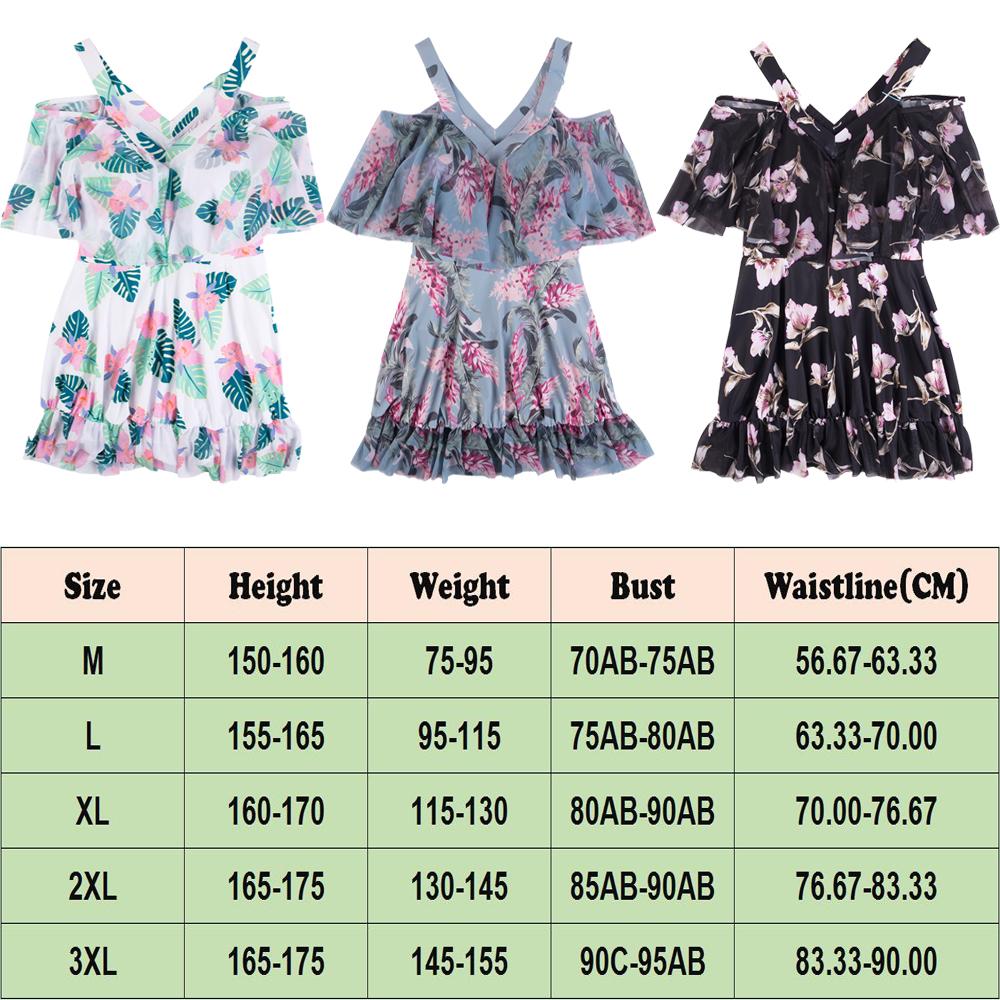 NEW-Women-Floral-Print-Sundress-One-piece-Tankini-Swim-Dress-Swimsuit-Bikini-Set thumbnail 18