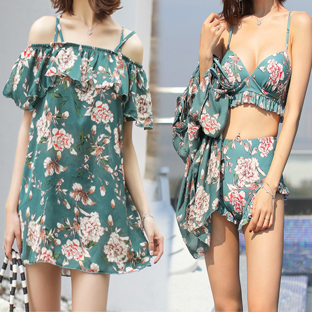 NEW-Women-Floral-Print-Sundress-One-piece-Tankini-Swim-Dress-Swimsuit-Bikini-Set thumbnail 13