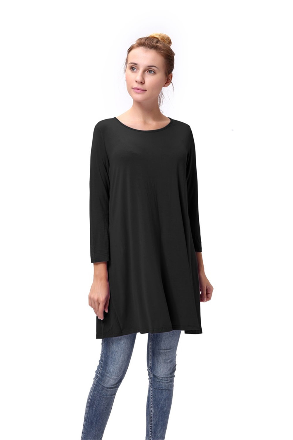 Women-Casual-Round-Neck-3-4-Long-Sleeve-Trapeze-Tunic-Top-Lady-Loose-Fit-Dress thumbnail 15