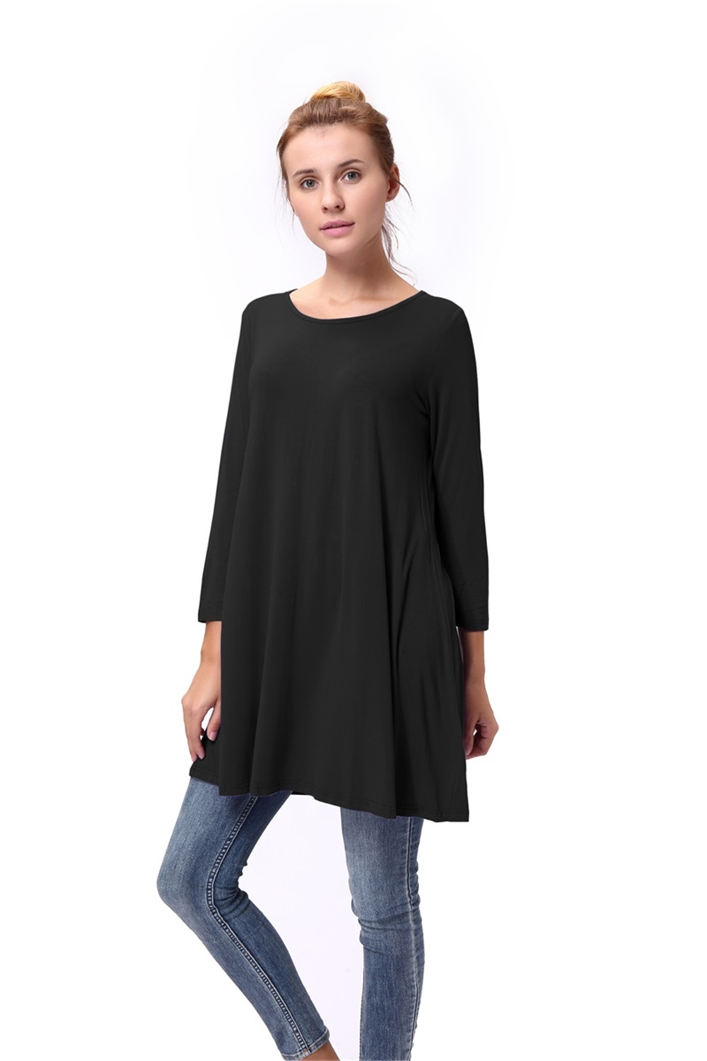 Women-Casual-Round-Neck-3-4-Long-Sleeve-Trapeze-Tunic-Top-Lady-Loose-Fit-Dress thumbnail 16