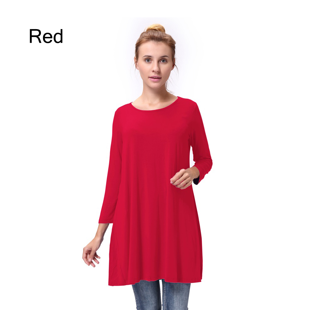 Women-Casual-Round-Neck-3-4-Long-Sleeve-Trapeze-Tunic-Top-Lady-Loose-Fit-Dress thumbnail 10