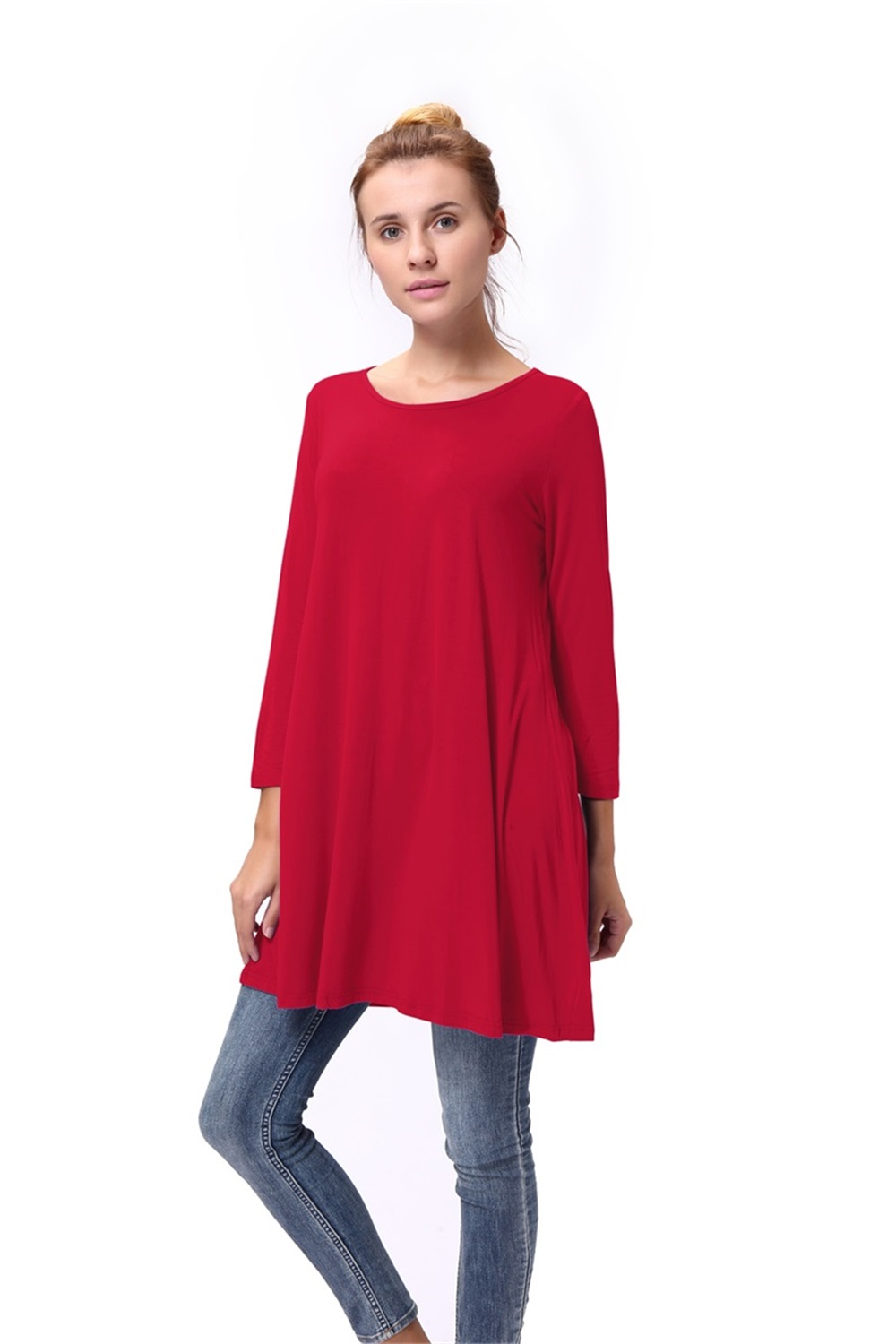 Women-Casual-Round-Neck-3-4-Long-Sleeve-Trapeze-Tunic-Top-Lady-Loose-Fit-Dress thumbnail 11