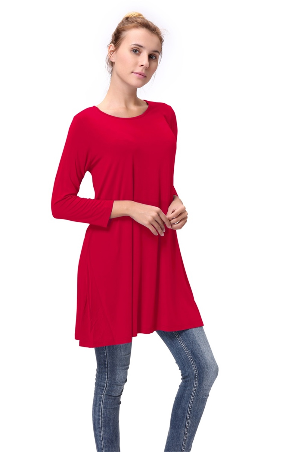 Women-Casual-Round-Neck-3-4-Long-Sleeve-Trapeze-Tunic-Top-Lady-Loose-Fit-Dress thumbnail 12