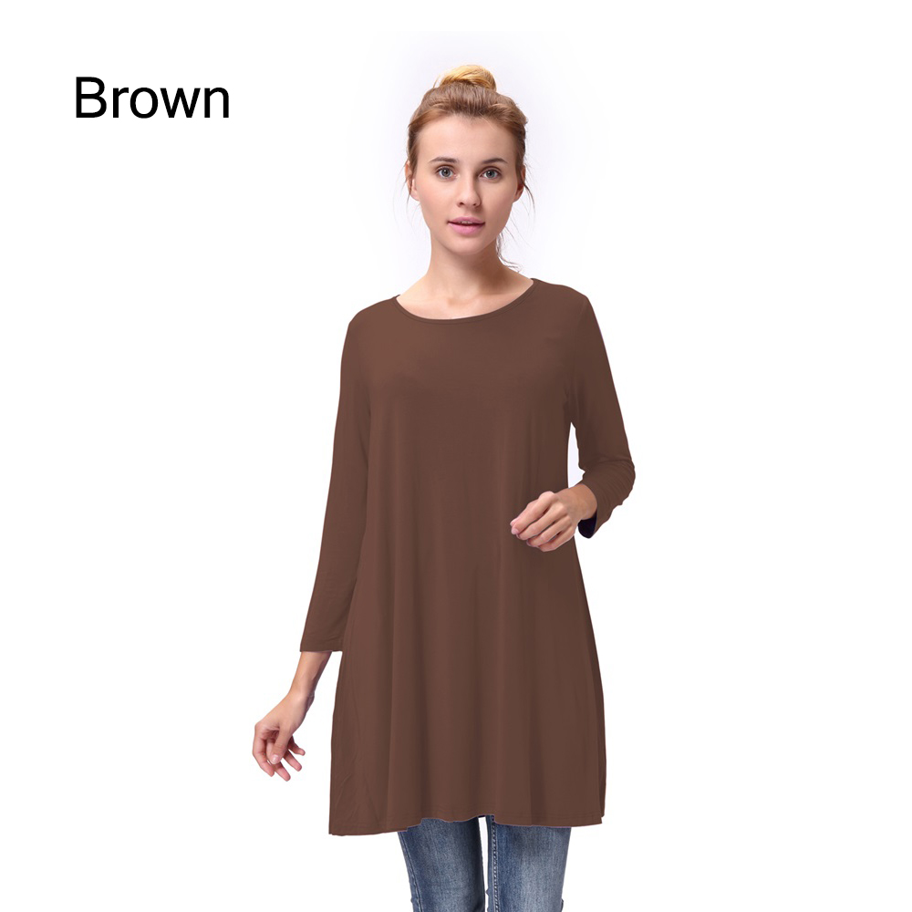 Women-Casual-Round-Neck-3-4-Long-Sleeve-Trapeze-Tunic-Top-Lady-Loose-Fit-Dress thumbnail 18