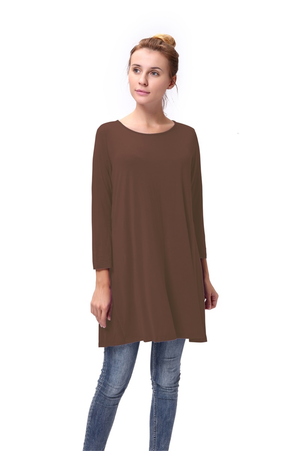 Women-Casual-Round-Neck-3-4-Long-Sleeve-Trapeze-Tunic-Top-Lady-Loose-Fit-Dress thumbnail 19