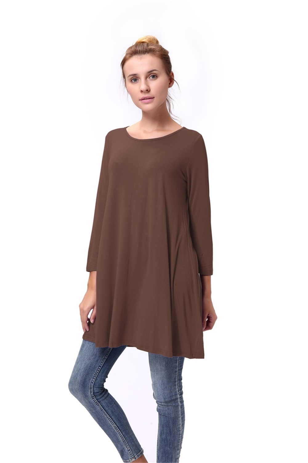 Women-Casual-Round-Neck-3-4-Long-Sleeve-Trapeze-Tunic-Top-Lady-Loose-Fit-Dress thumbnail 20