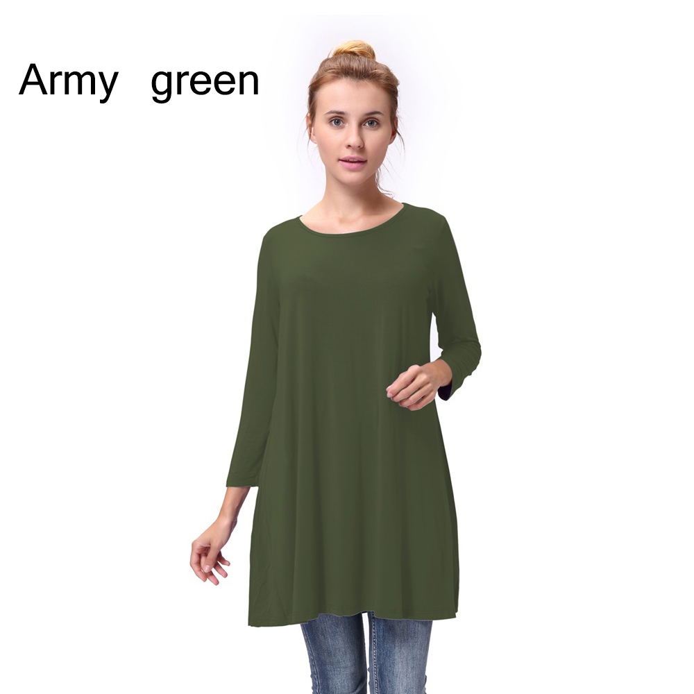Women-Casual-Round-Neck-3-4-Long-Sleeve-Trapeze-Tunic-Top-Lady-Loose-Fit-Dress thumbnail 6